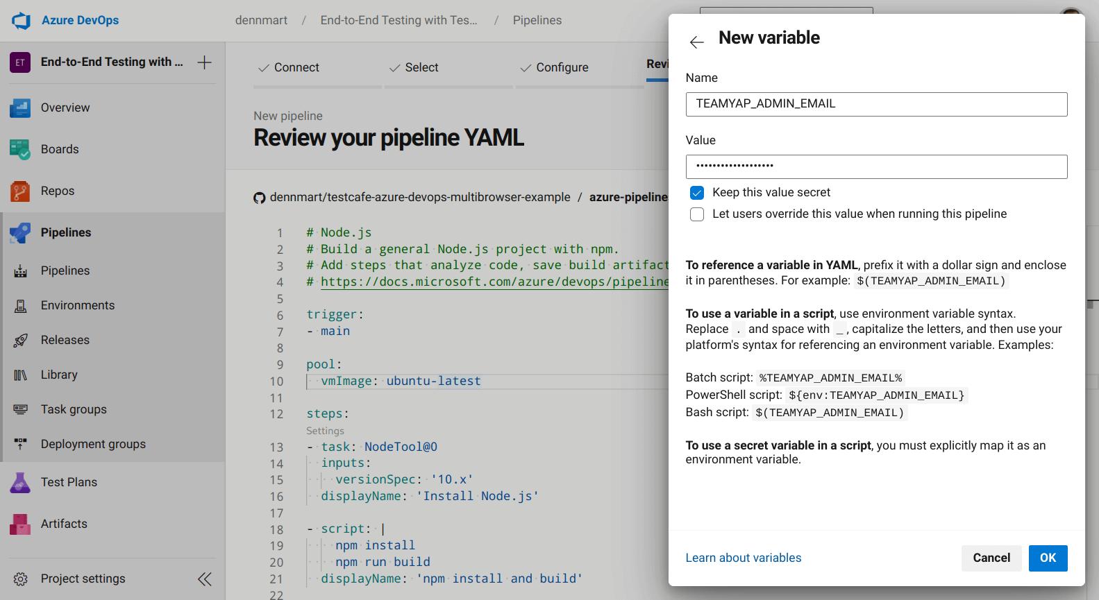 Azure DevOps - Adding Variable to Pipeline