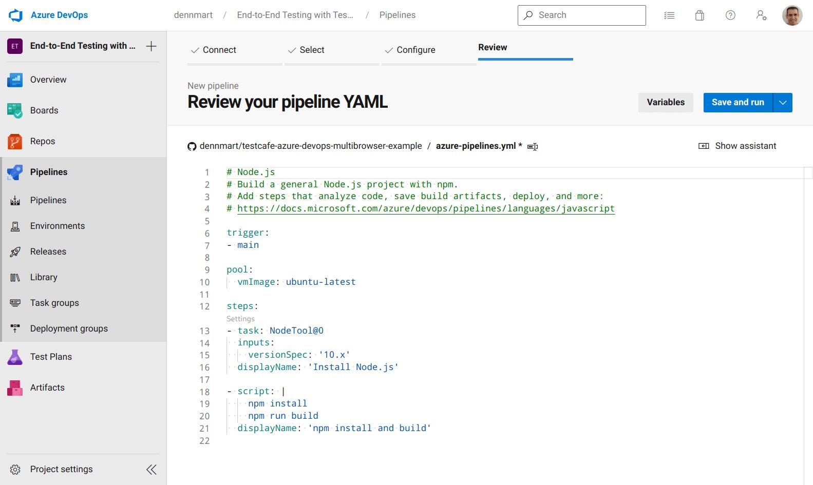 Azure DevOps - Pipeline Review - Default Configuration