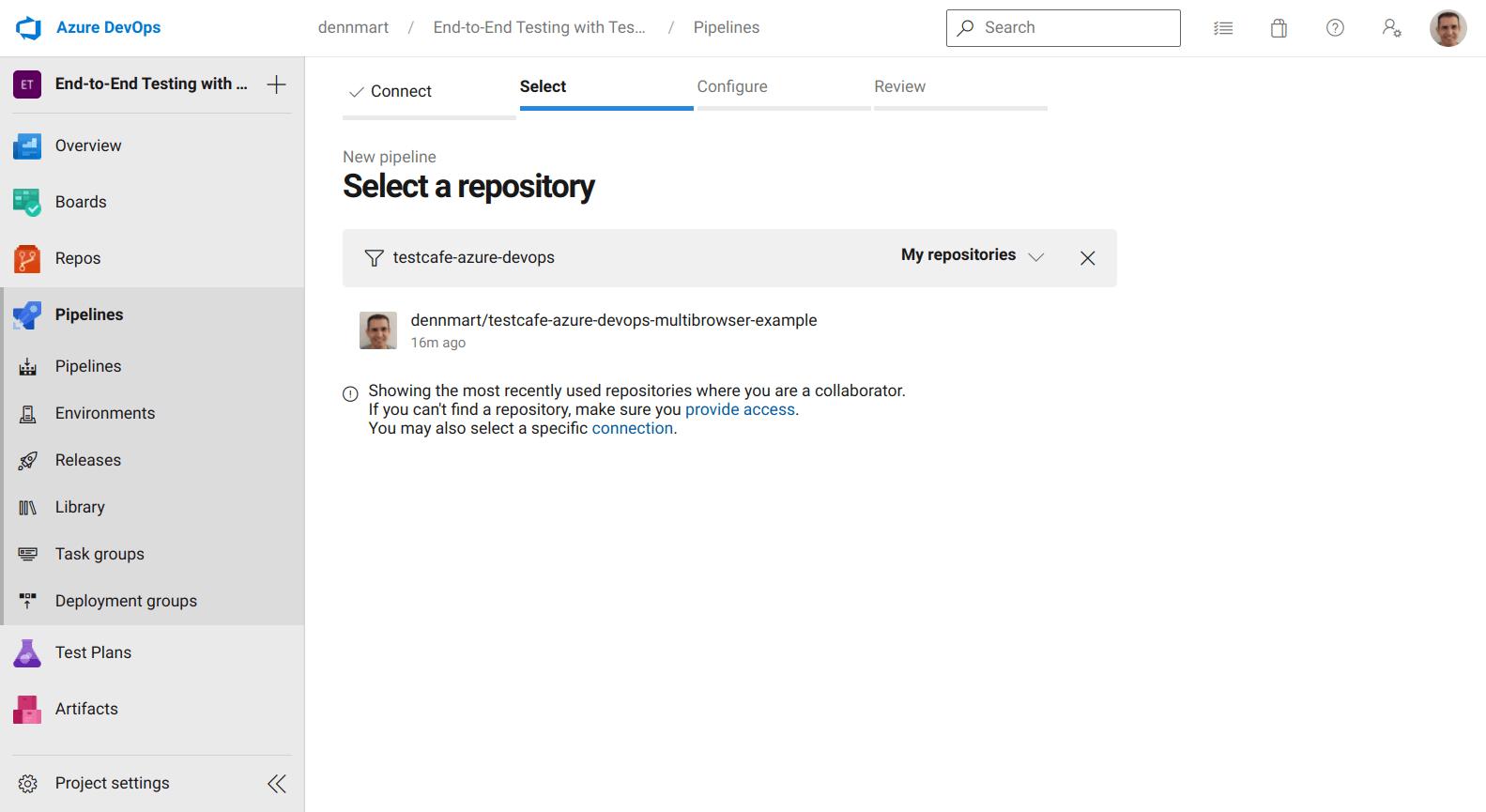 Azure DevOps - Select Code Repository